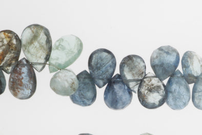 Blue Moss Aquamarine 9x7mm Faceted Pear Shaped Briolettes