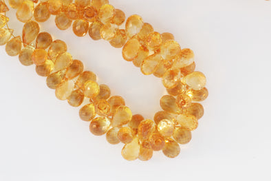 Yellow Citrine 11x7mm Faceted Teardrop Briolettes