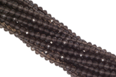 Smoky Quartz 3mm Faceted Rondelles