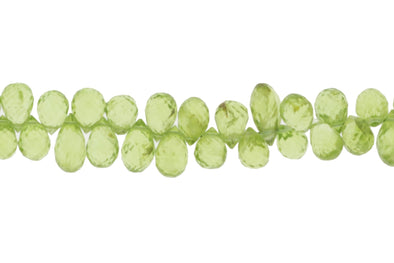 Green Peridot 7x5mm Faceted Teardrop Briolettes Bead Strand