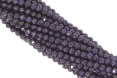 "Dark Navy Blue Sapphire 2mm Faceted Rounds 13"" Bead Strand"