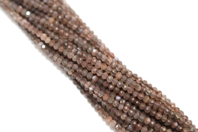 Chocolate Moonstone 2mm Faceted Rounds