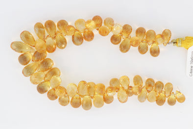 Yellow Citrine 10x6mm Faceted Teardrop Briolettes
