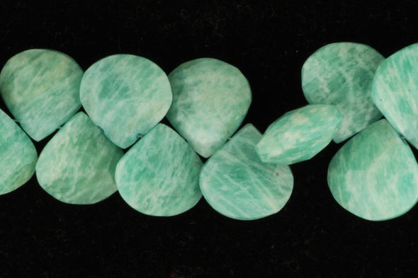 Blue Amazonite 13mm - 15mm Faceted Heart Shaped Briolettes Bead Strand