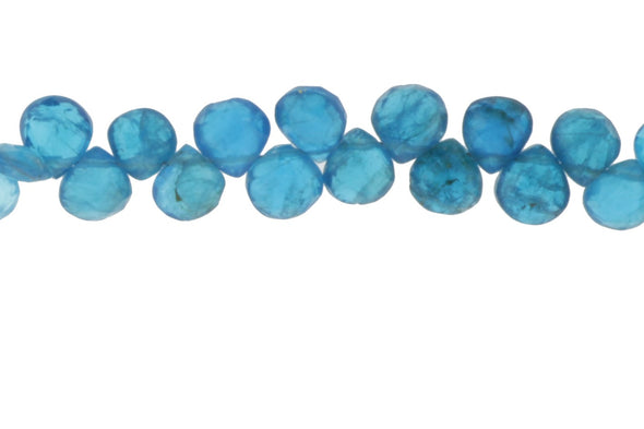Neon Blue Apatite 5.5mm Faceted Heart Shaped Briolettes