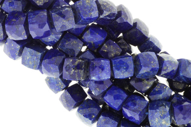 Royal Blue Lapis Lazuli 7mm Faceted Cubes