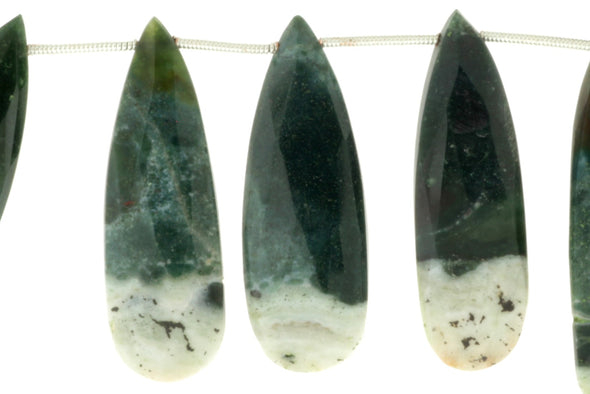 Green Moss Agate 30x12mm Faceted Pear Shaped Briolettes
