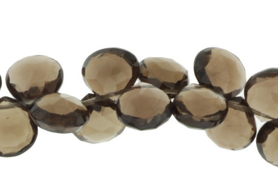 Brown Smoky Quartz 8mm Faceted Heart Shaped Briolettes Bead Strand