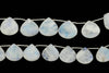 "Blue Rainbow Moonstone 20mm Faceted Heart Shaped Briolettes 8"" Bead Strand"