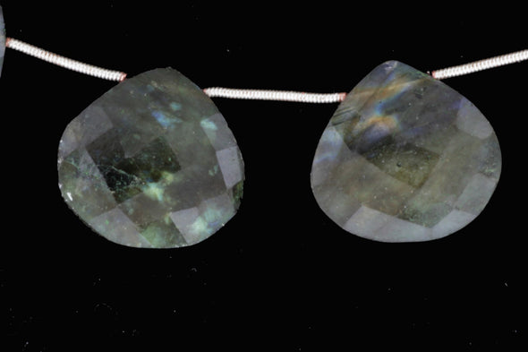 Blue Labradorite 20mm Faceted Heart Shaped Briolettes