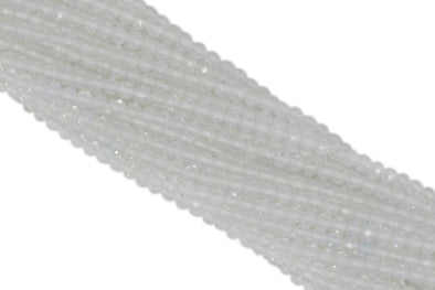 "White Topaz 2mm Faceted Rounds 13"" Bead Strand"