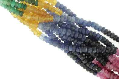 Rainbow Multi Ruby, Emerald, and Sapphire 2.5mm - 3.5mm Hand Faceted Rondelles Bead Strand