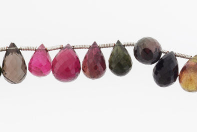 Watermelon Tourmaline 11x7mm Faceted Teardrop Briolettes