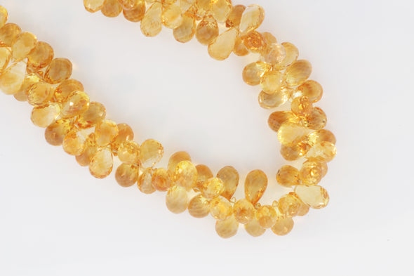 Yellow Citrine 9x6mm Faceted Teardrop Briolettes