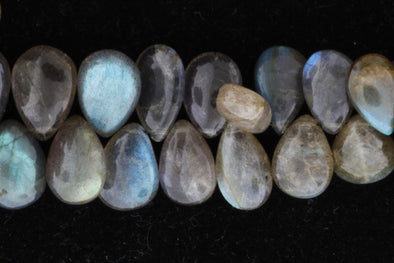 "Blue Labradorite 12x8mm Smooth Pear Shaped Briolettes 8"" Bead Strand"