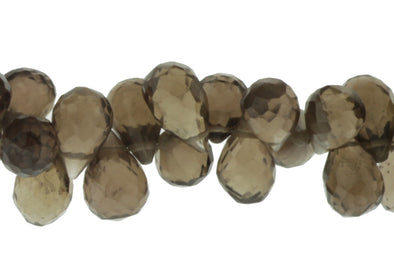 Brown Smoky Quartz 9x6mm Faceted Teardrop Briolettes Bead Strand