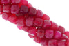 Dark Hot Pink Chalcedony 6mm Faceted Cubes