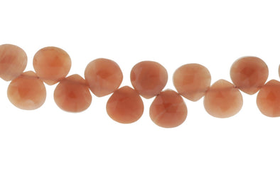 Peach Moonstone 5mm Faceted Heart Shaped Briolettes