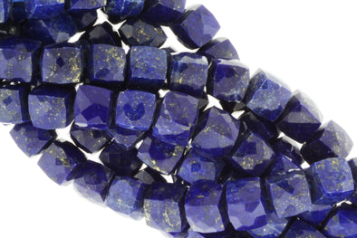 Royal Blue Lapis Lazuli 8mm Faceted Cubes
