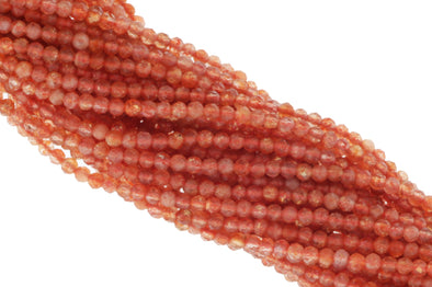 Orange Sunstone 2.5mm Faceted Rounds Bead Strand