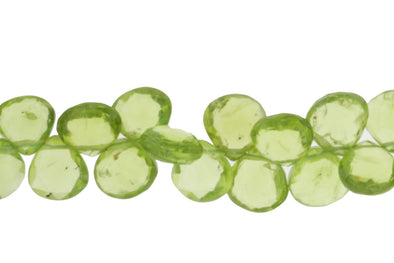 Green Peridot 8mm Faceted Heart Shaped Briolettes Bead Strand