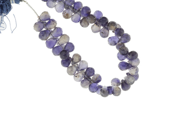 Blue Iolite 9x6mm Faceted Teardrop Briolettes