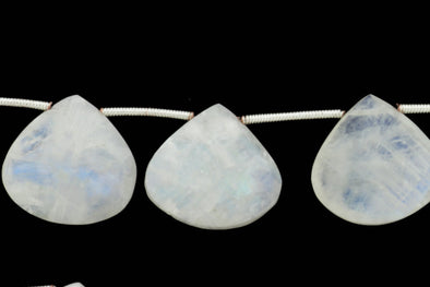"Blue Rainbow Moonstone 16mm Faceted Heart Shaped Briolettes 8"" Bead Strand"