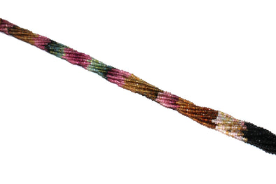 "Watermelon Tourmaline 2.5mm Hand Faceted Rondelles 13"" Bead Strand"