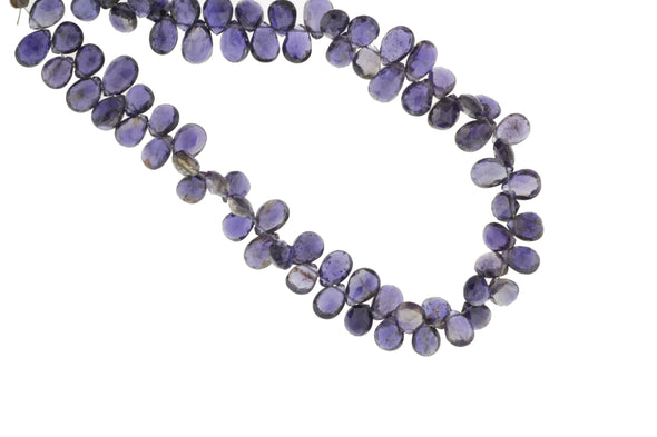Blue Iolite 7x5mm Faceted Pear Shaped Briolettes