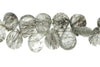 Black Tourmalinated Quartz 12x8mm Faceted Pear Shaped Briolettes