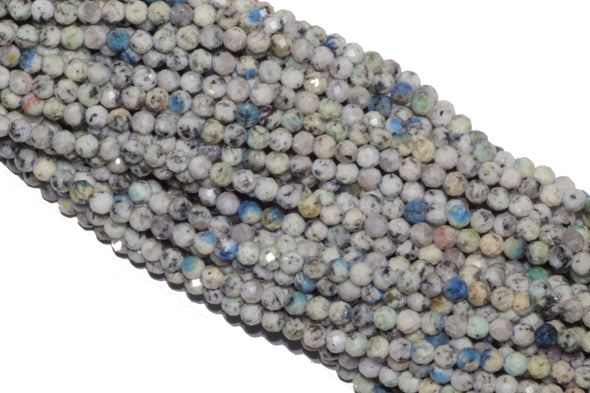 "K2 Jasper 3mm Faceted Rounds Beads Natural Semi Precious Gemstone Beads 13"" Full Strand"