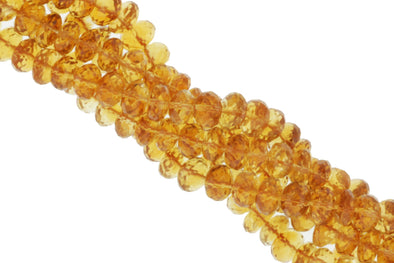 Yellow Orange Citrine 7mm Faceted Rondelles
