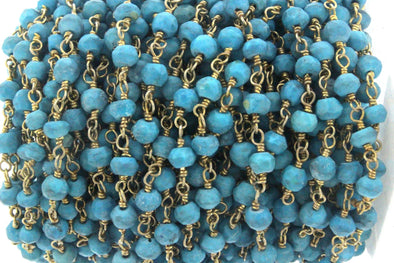Blue Turquoise (R) 4mm Faceted Rondelles Rosary Chain Sterling Silver with Gold Plating Wire Wrap Chain by the Foot
