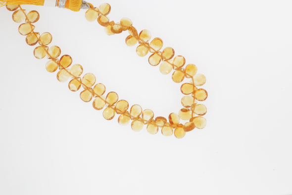 Orange Madeira Citrine 6x4mm Faceted Pear Shaped Briolettes
