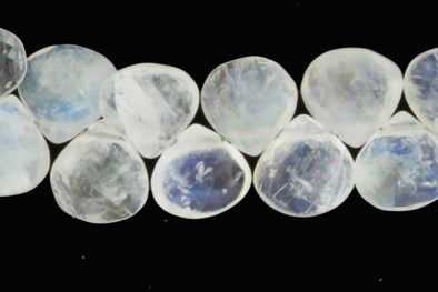 "Blue Rainbow Moonstone 8mm Faceted Heart Shaped Briolettes 8"" Bead Strand"
