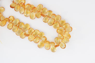Yellow Citrine 9x6mm Faceted Pear Shaped Briolettes
