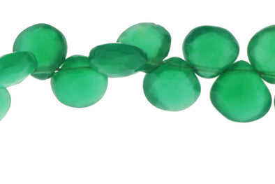 Green Onyx 7mm Faceted Heart Shaped Briolettes