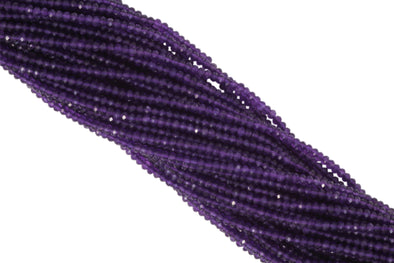 "Amethyst 4mm Faceted Rondelles 13"" Bead Strand"