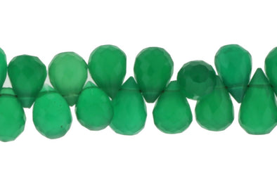 Green Onyx 7x5mm Faceted Teardrop Briolettes