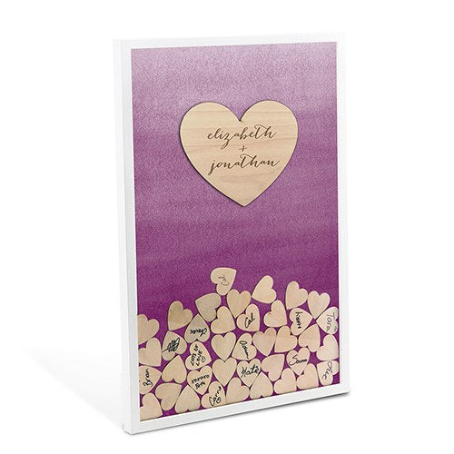 Violet & Wooden Heart Personalized Drop Box Guest Book