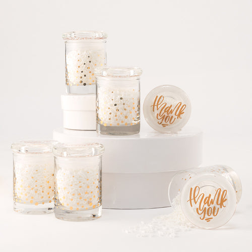 Gold Foil Confetti Mini Glass Favor Jar With Lid (set of 6)