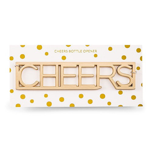 5 Gold CHEERS Bottle Opener Wedding Favor