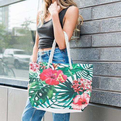 Large Tropical Hibiscus Tote