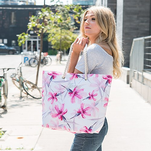 Large Pink Floral Watercolor Tote