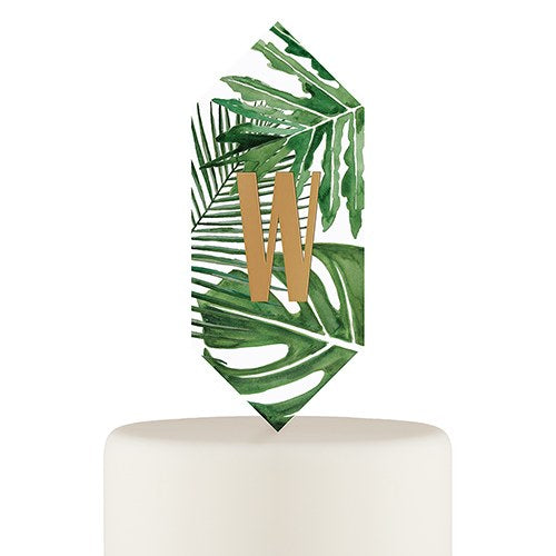 Tropical Leaf Monogram Floating Cake Topper
