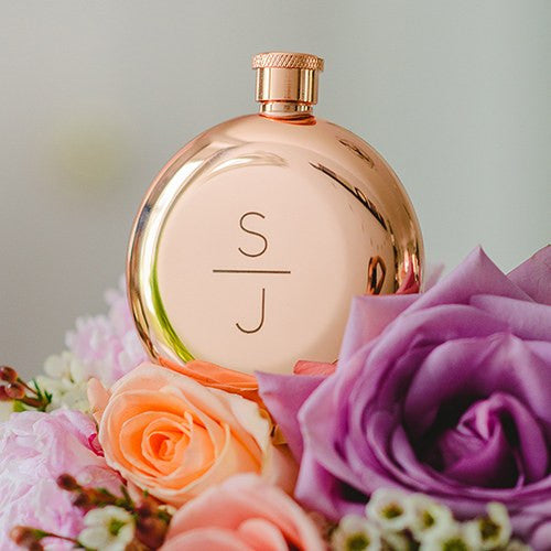Stacked Monogram Etched Round Rose Gold 3oz Hip Flask