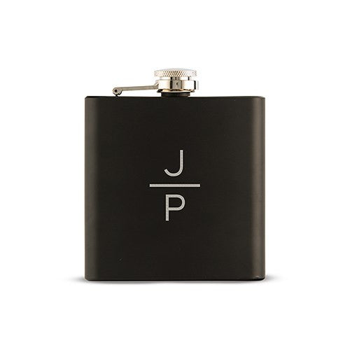 Vertically Personalized Black Hip Flask