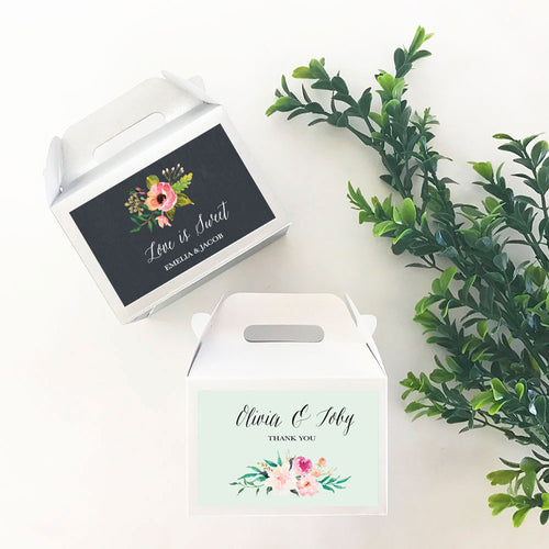 24 Personalized Floral Garden Mini Gable Boxes