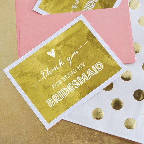 Bridesmaid & Maid of Honor Thank You Cards (set of 4)