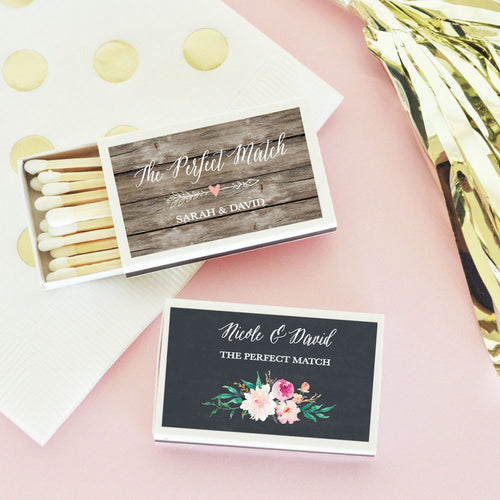 50 Personalized Floral Garden Match Boxes